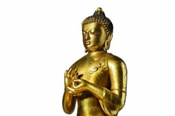 A Zanabazar School Gilt Figure Of Buddha Gautama