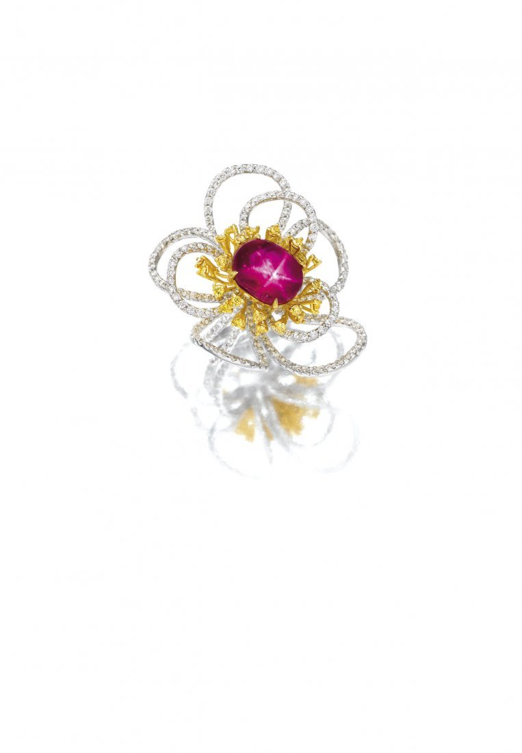 A STAR RUBY & DIAMOND RING
