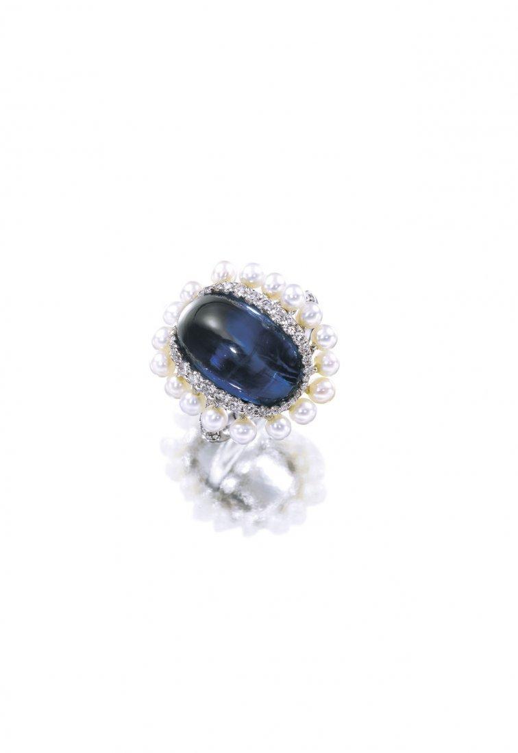 A SAPPHIRE, CULTURED PEARL & DIAMOND RING