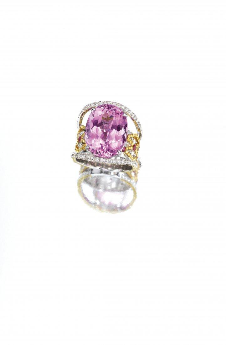 A KUNZITE, DIAMOND & RUBY RING