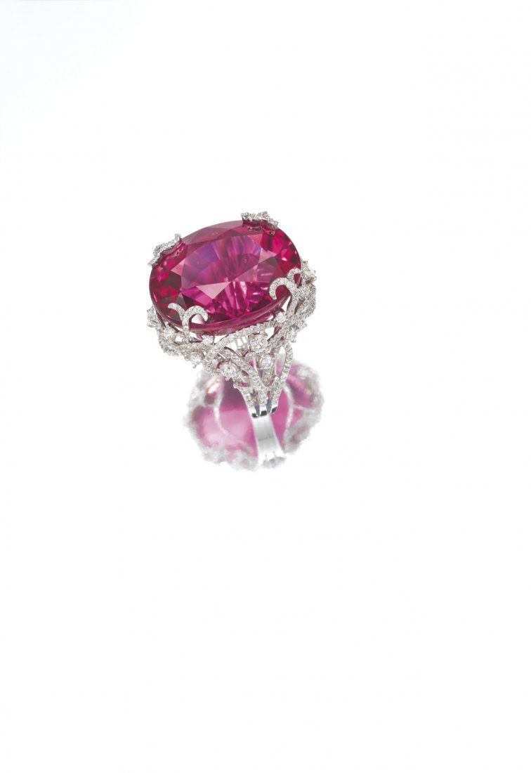 A RUBELLITE & DIAMOND RING, BY M YOUSSOUFIAN