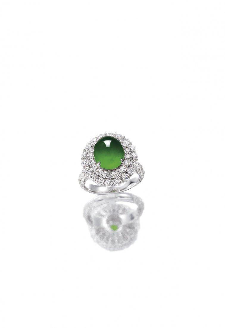 A JADEITE & DIAMOND RING
