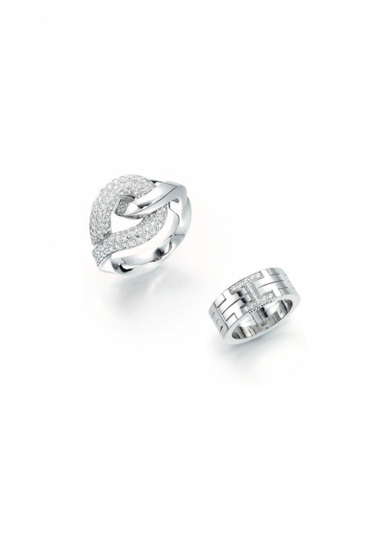 TWO DIAMOND RINGS, BY HERMÈS