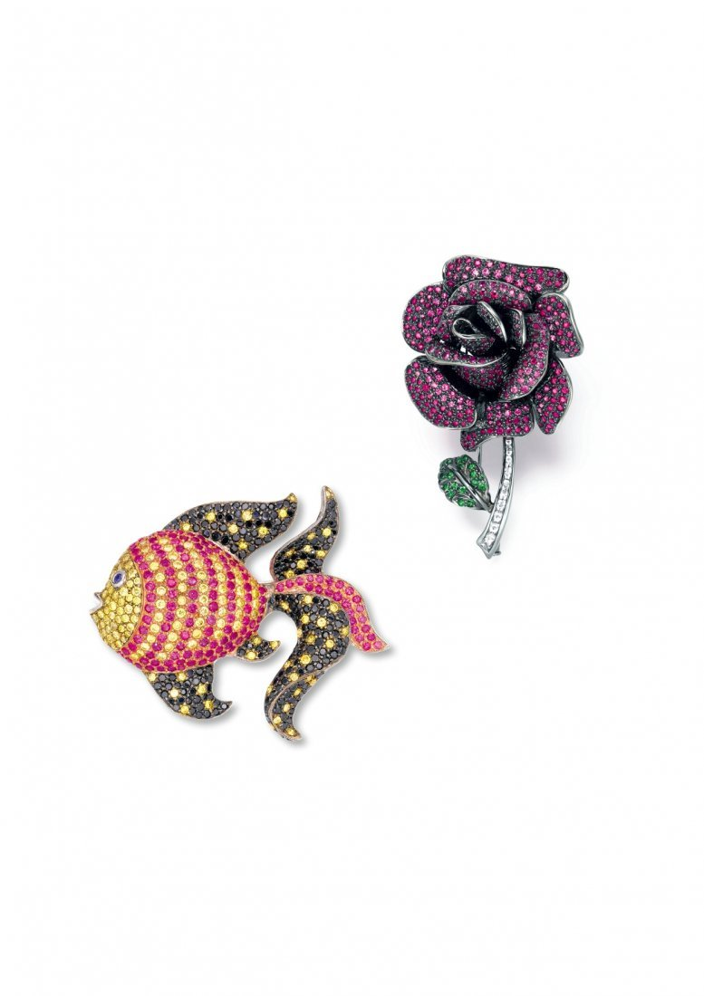 TWO GEM-SET BROOCHES