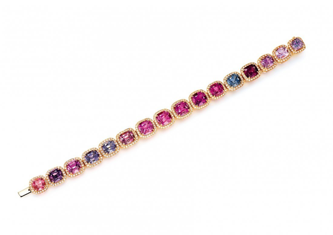A MULTI-COLORED SPINEL AND DIAMOND BRACELET