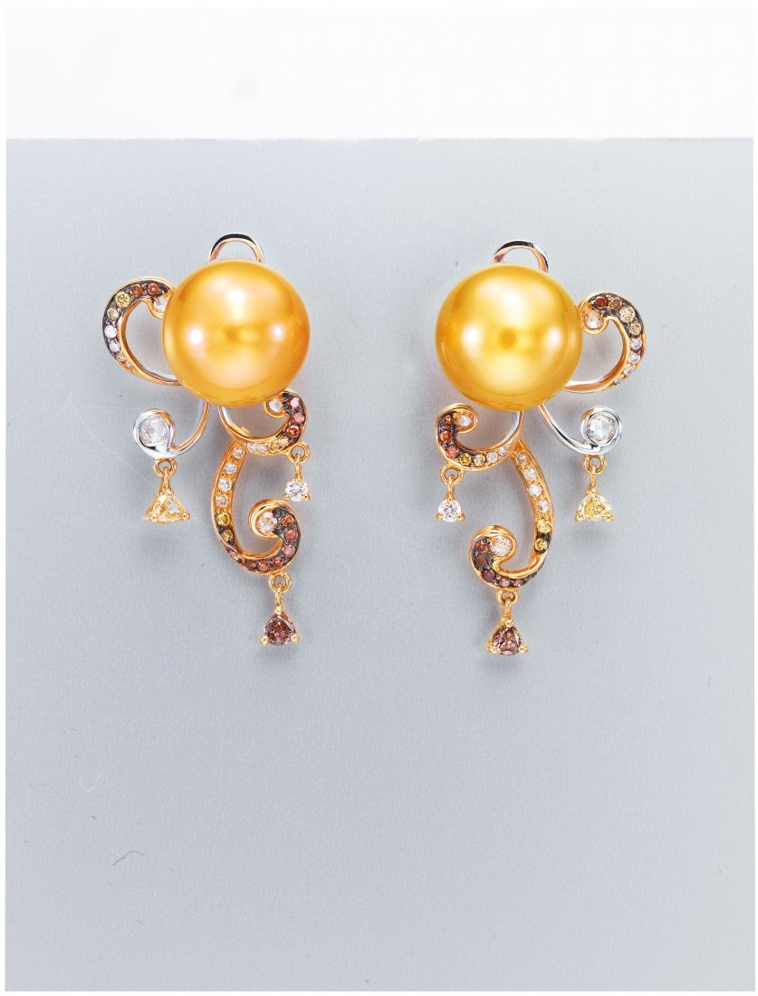 GOLDEN SOUTH SEA CULTURED PEARL EARRINGS,DILYS'
