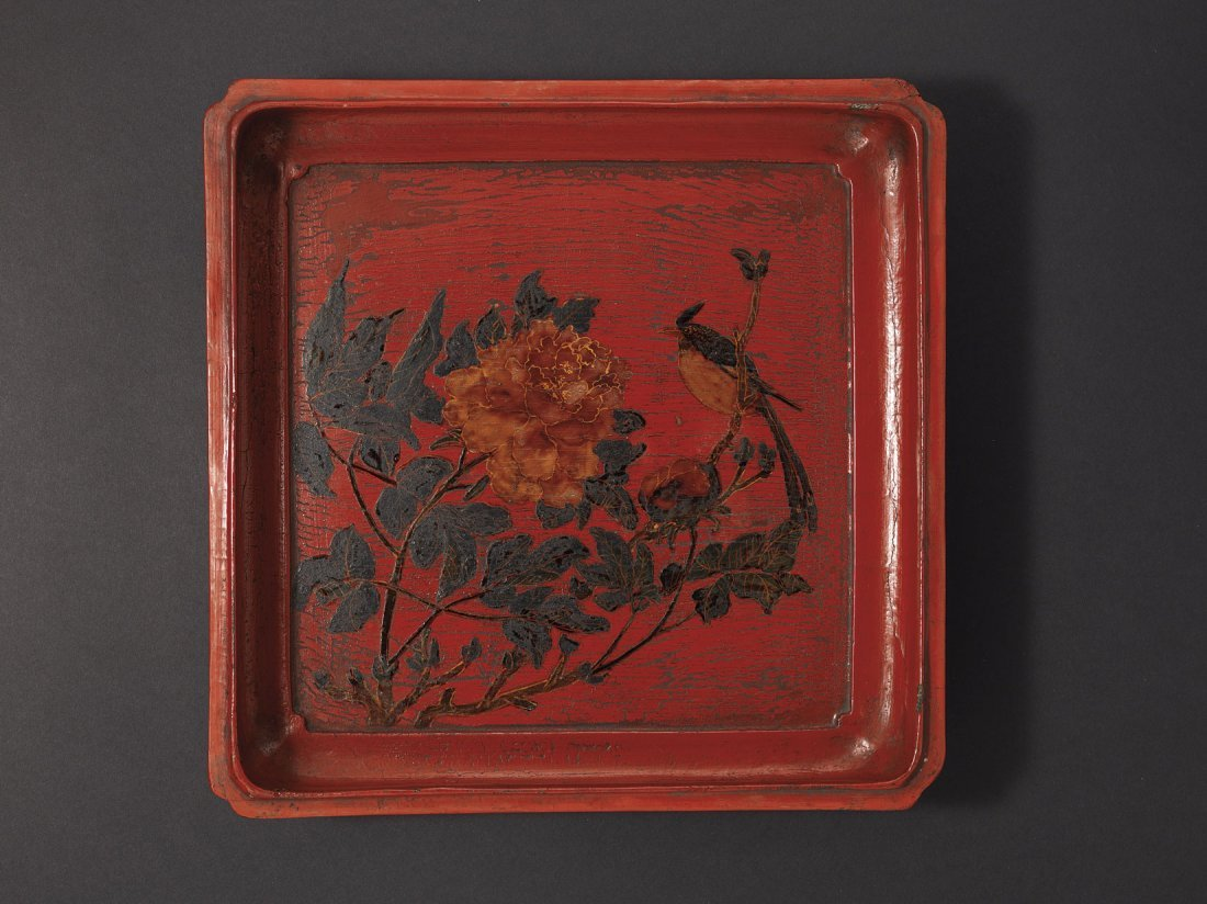 A Birds and Flower Lacquer Square Box and Cover