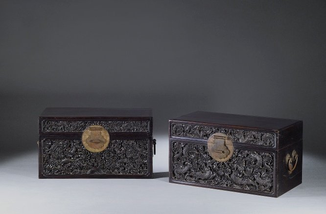 A Pair of Imperial Sandalwood Chests