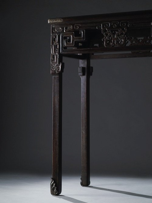 A Rare Zitan Side Table With Wan Pattern