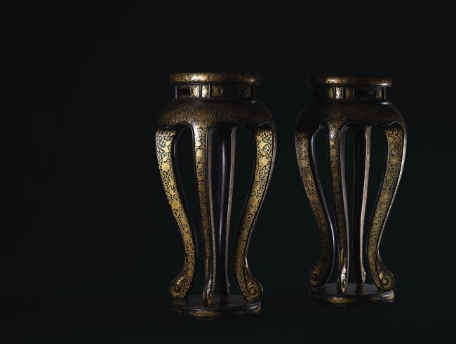 A Pair of Gold Painted Black Lacquer Stands