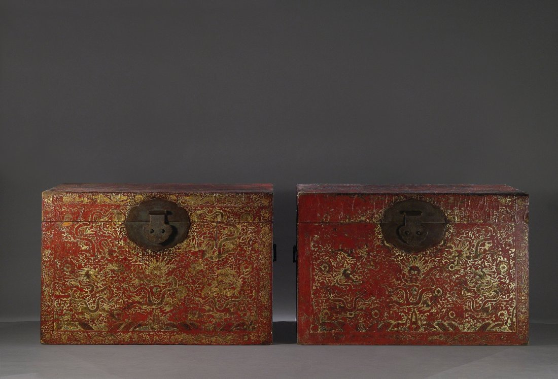 A Pair of Imperial Gold Painted Dragons Chests