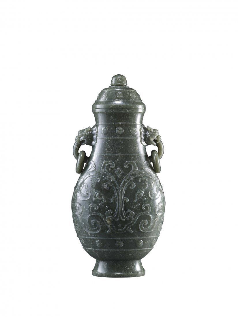A Spinach Jade Archaistic Vase and Cover