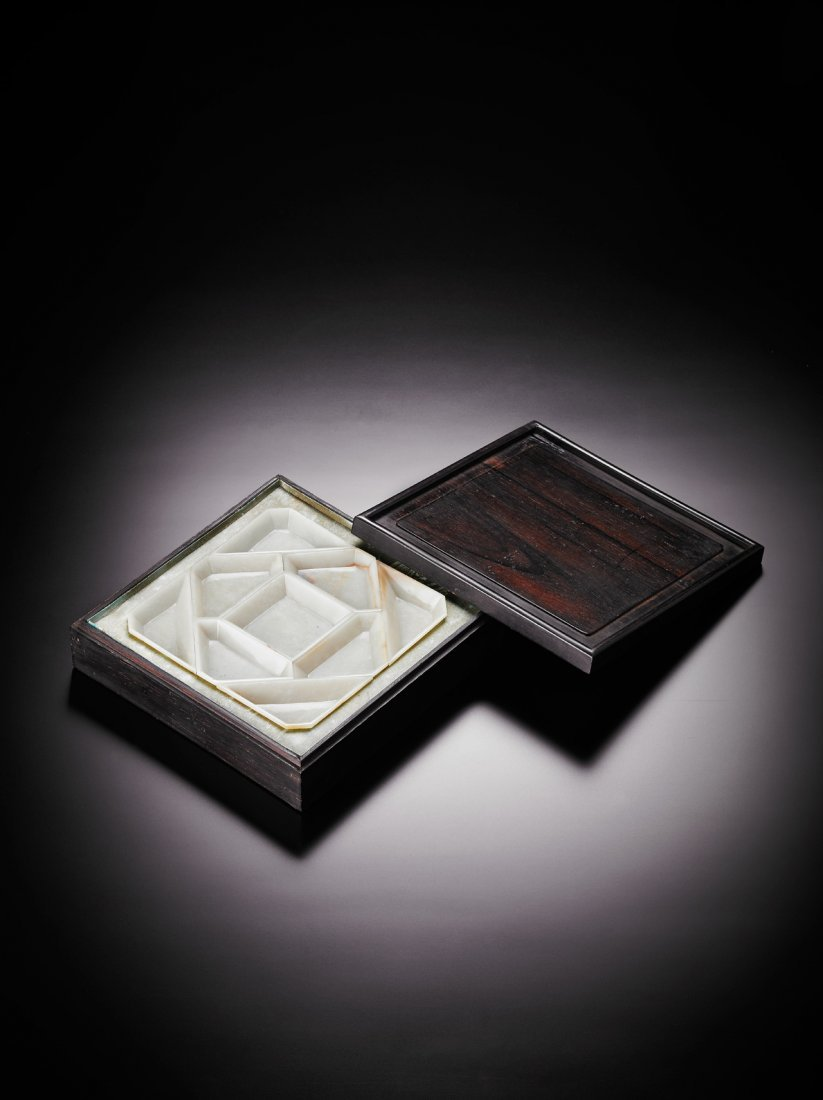 A JADE DISH OF NINE COMPARTMENTS