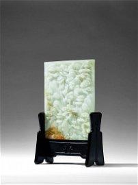 A GREENISH-WHITE JADE LANDSCAPE TABLE SCREEN
