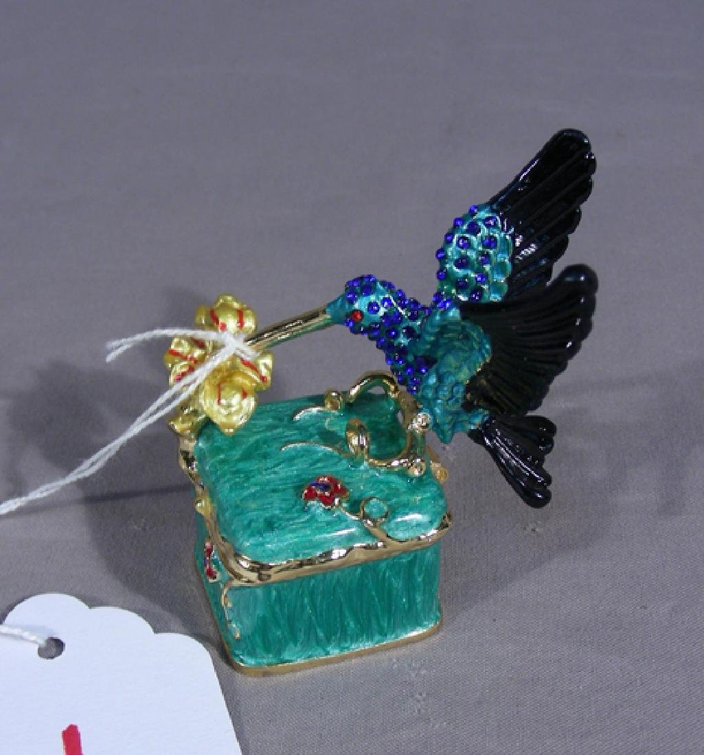 METAL AND ENAMEL HUMMINGBIRD TRINKET BOX