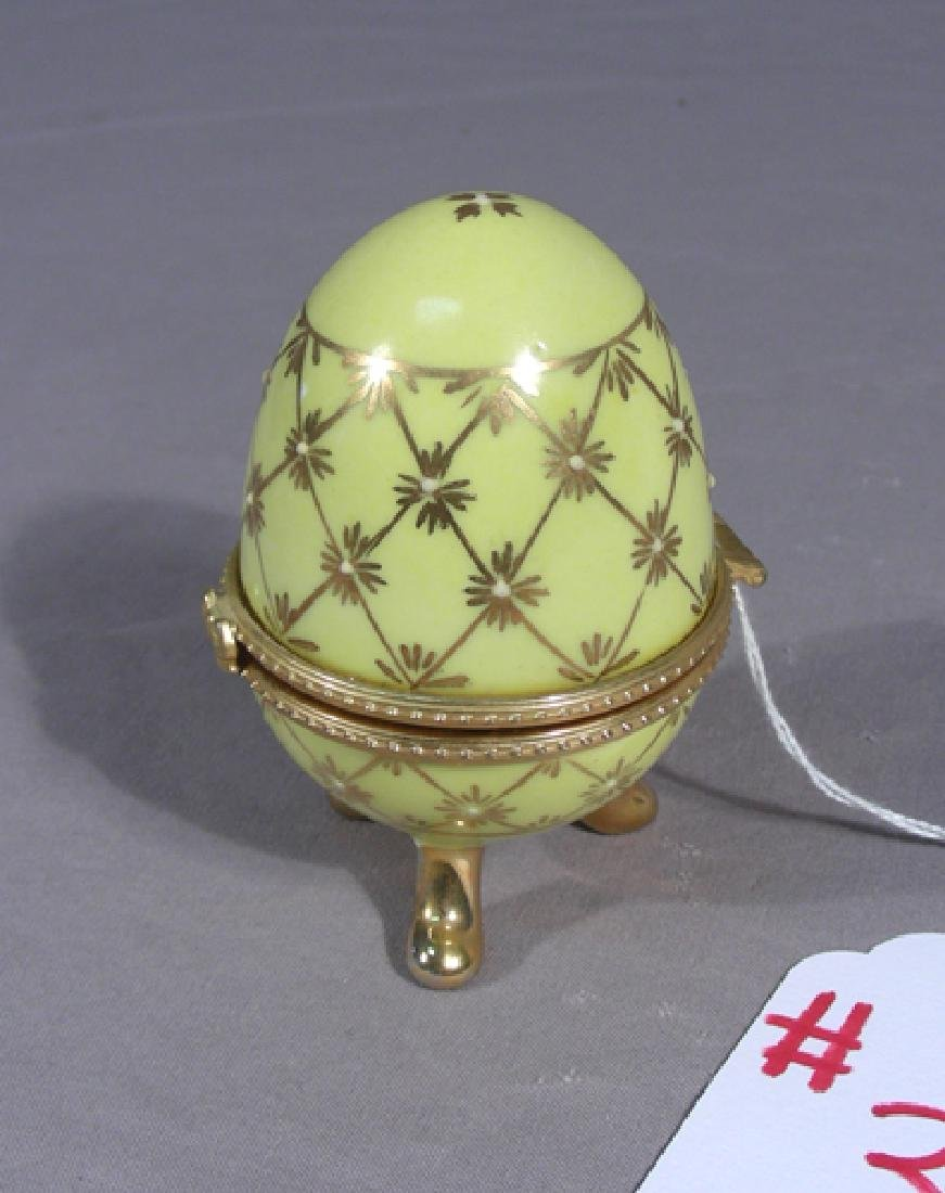 HAND PAINTED PORCELAIN AND METAL EGG