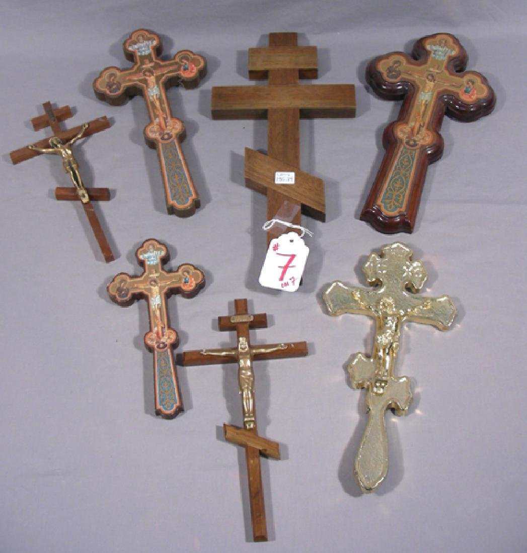 SEVEN MISC. CARVED WOOD,  PAINTED & METAL CROSSES