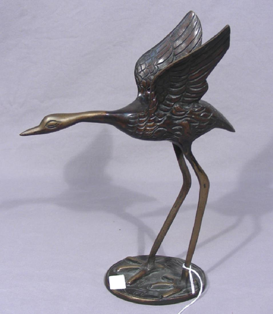 VINTAGE BRONZE CRANE SCULPTURE
