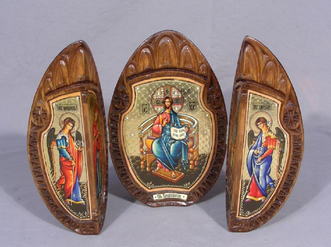 HAND PAINTED WOODEN RUSSIAN TRIPTYCH