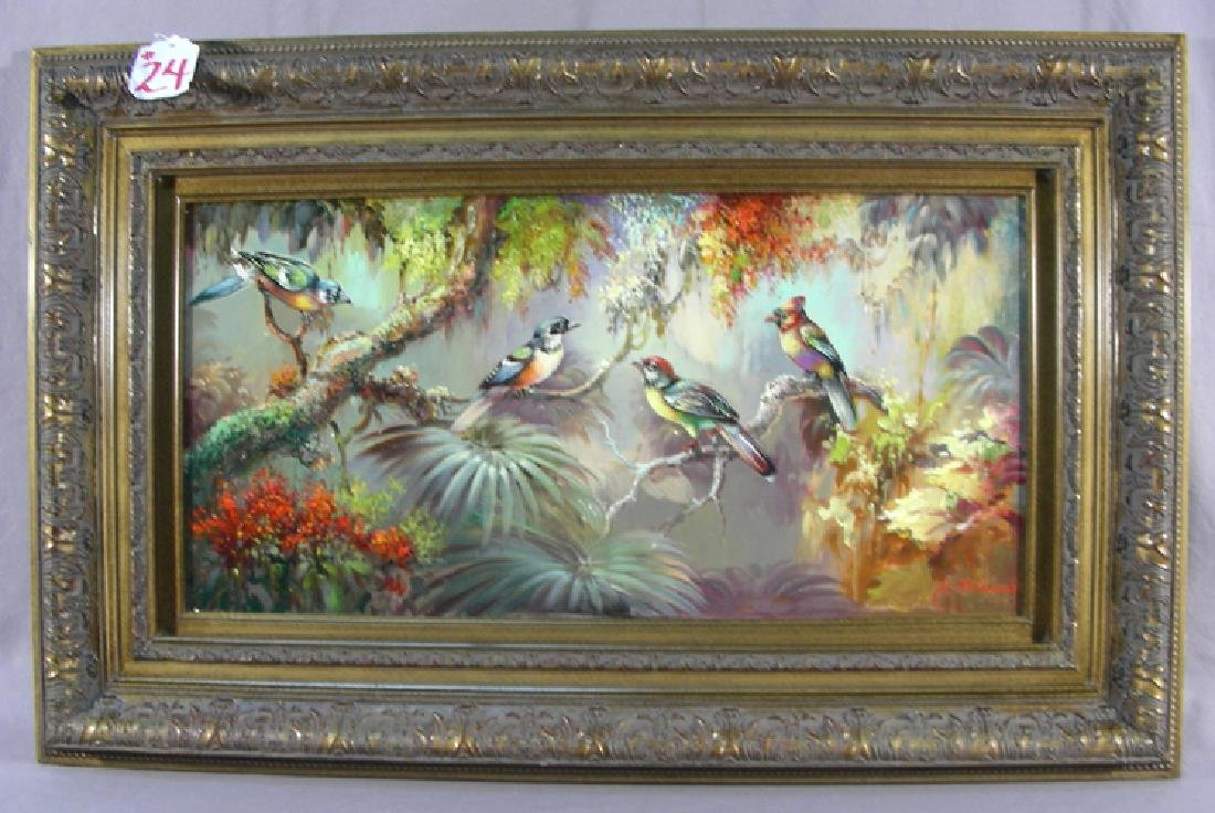 "ORIGINAL OIL ON CANVAS ""BIRDS ON BRANCHES"""