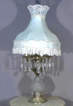 VERY LARGE VINTAGE GILT METAL & CRYSTAL TABLE LAMP