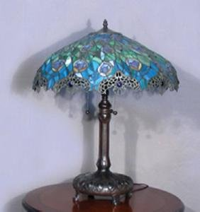 "METAL AND LEADED GLASS ""PEACOCK"" TABLE LAMP"