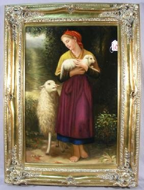 ORIGINAL OIL ON CANVAS:  STANDING WOMAN WITH SHEEP
