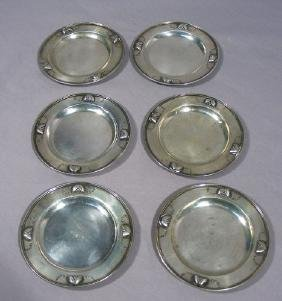 SIX RARE VINTAGE GEORG JENSEN SMALL STERLING PLATES