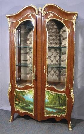 FRENCH WOODEN CURIO CABINET WITH HAND PAINTED SCENES