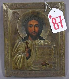 ANTIQUE HAND PAINTED RUSSIAN WOOD AND METAL ICON