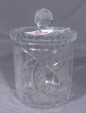 FULL LEAD CUT CRYSTAL GOLF MOTIF BISCUIT JAR