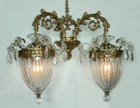 PAIR FINE BACCARAT STYLE GILT METAL AND CRYSTAL SCONCES