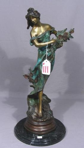 """FRENCH BRONZE SCULPTURE """" WHEAT GIRL"""""""