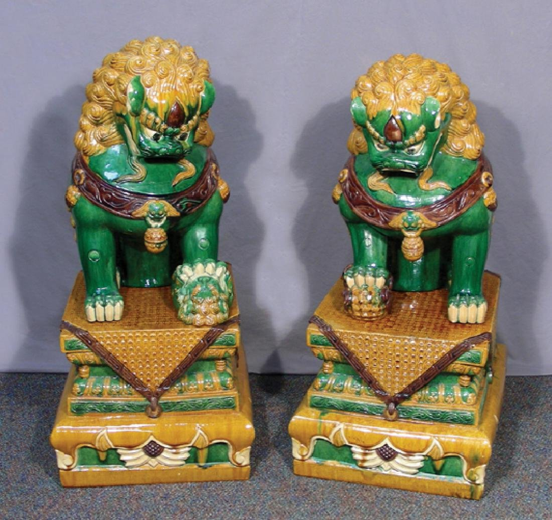 PAIR FINE CHINESE PORCELAIN GLAZED FOO DOGS ON BASES