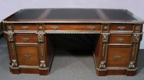 HAND CARVED AND INLAID EXECUTIVE DESK