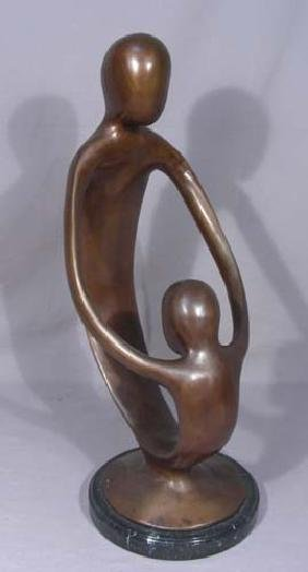 ABSTRACT MODERN BRONZE SCULPTURE OF MOTHER & CHILD