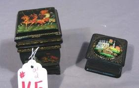 TWO HAND PAINTED RUSSIAN LACQUER BOXES