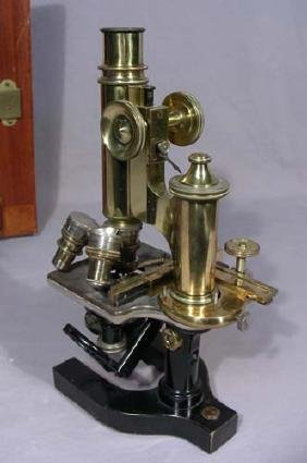 VINTAGE BAUSCH & LOMB CASED BRASS MICROSCOPE