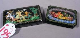 TWO FINE HAND PAINTED RUSSIAN LACQUER BOXES