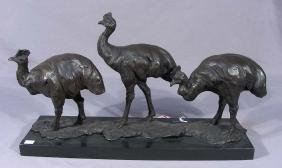 VERY UNUSUAL ABSTRACT BRONZE SCULPTURE OF OSTRICH