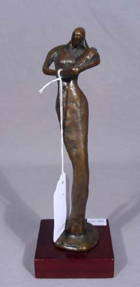 "ABSTRACT BRONZE SCULPTURE ""MOTHER & CHILD"""