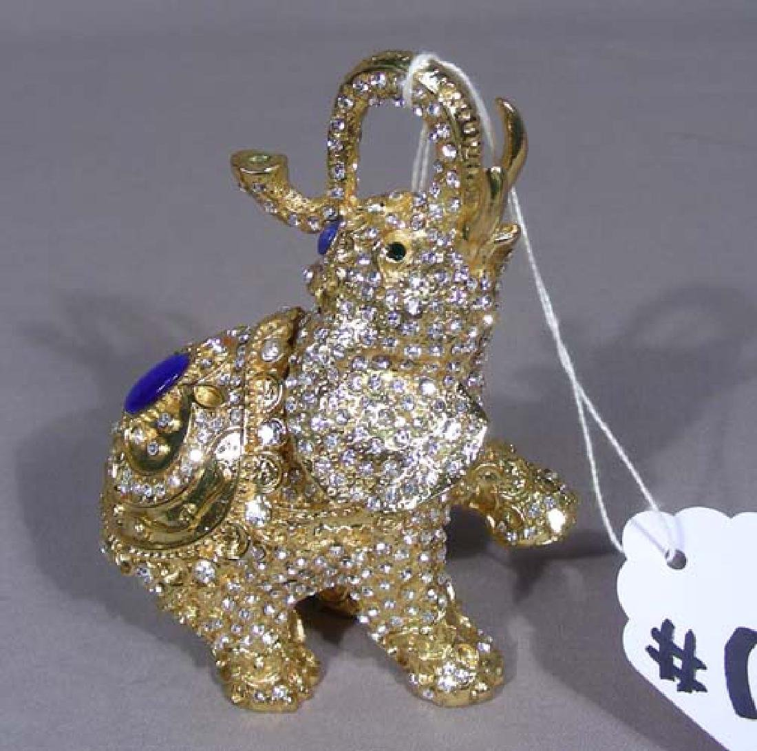 METAL, ENAMEL AND RHINESTONE ELEPHANT TRINKET BOX