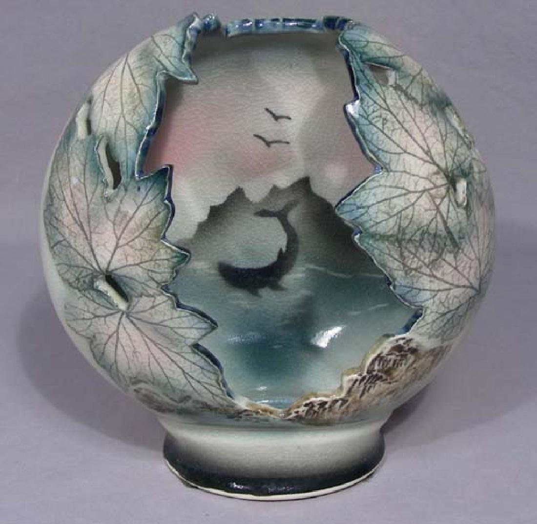 HAND PAINTED OPEN WORK PORCELAIN VASE