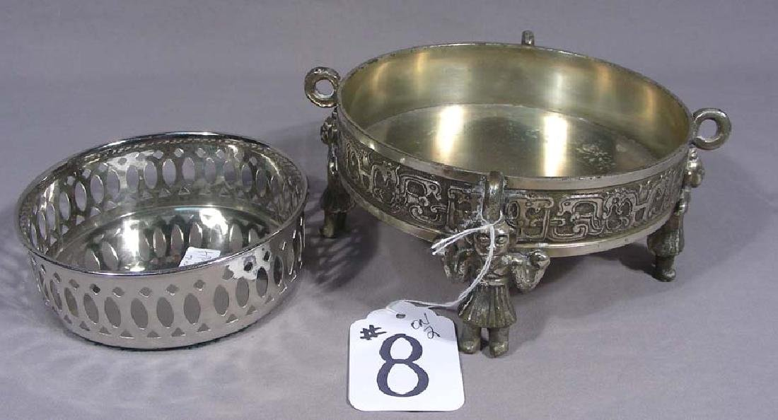 TWO VINTAGE SILVER PLATED WINE HOLDERS
