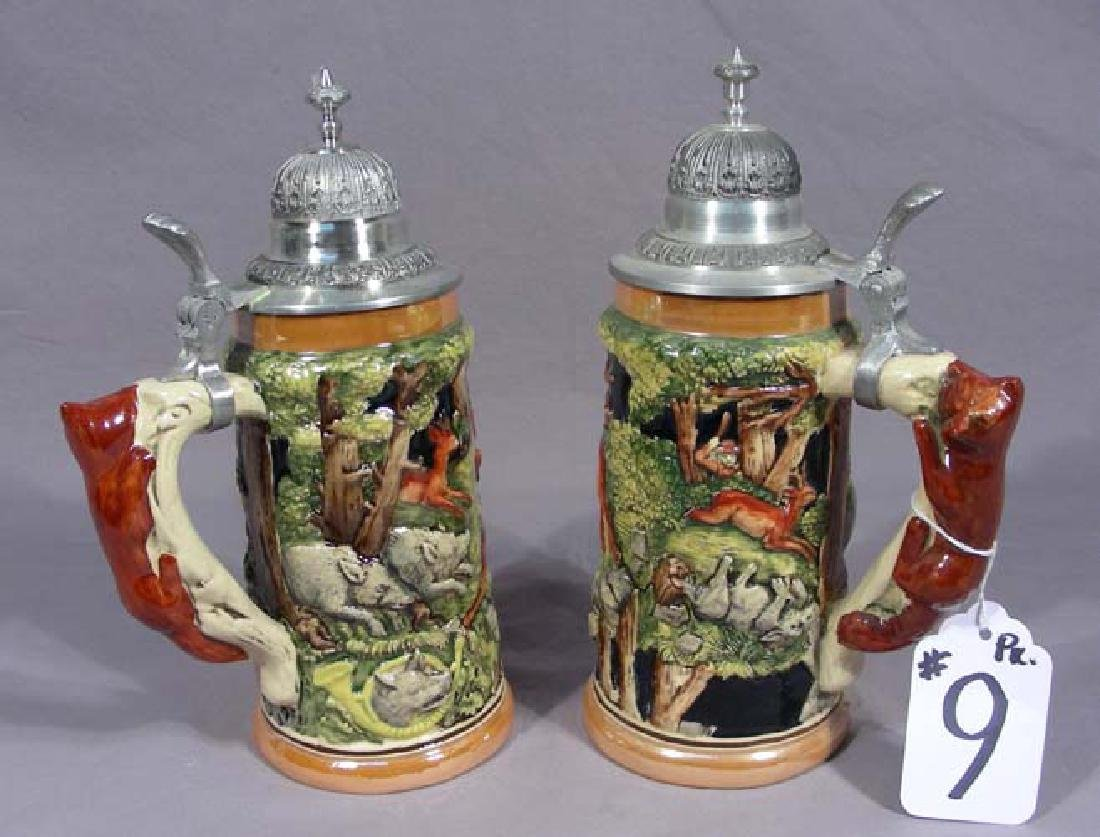 TWO HAND PAINTED POLISH STEINS