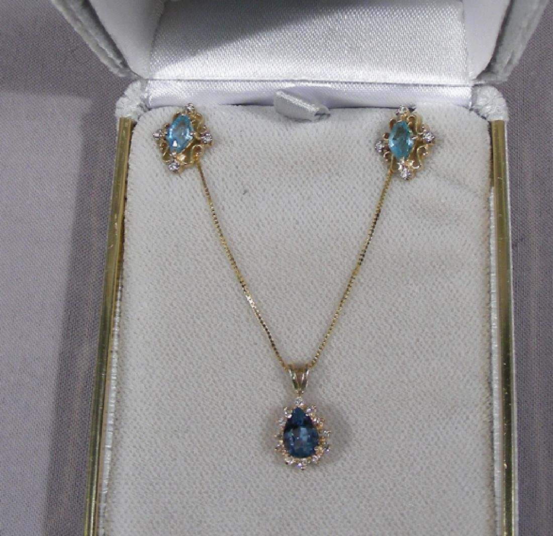 LADIES 14K YELLOW GOLD, BLUE TOPAZ AND DIAMOND ENSEMBLE
