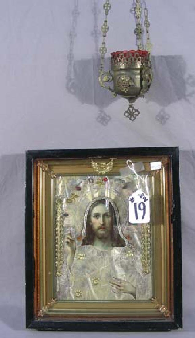 VINTAGE RUSSIAN ICON IN SHADOW BOX WITH HANGING CANDLE