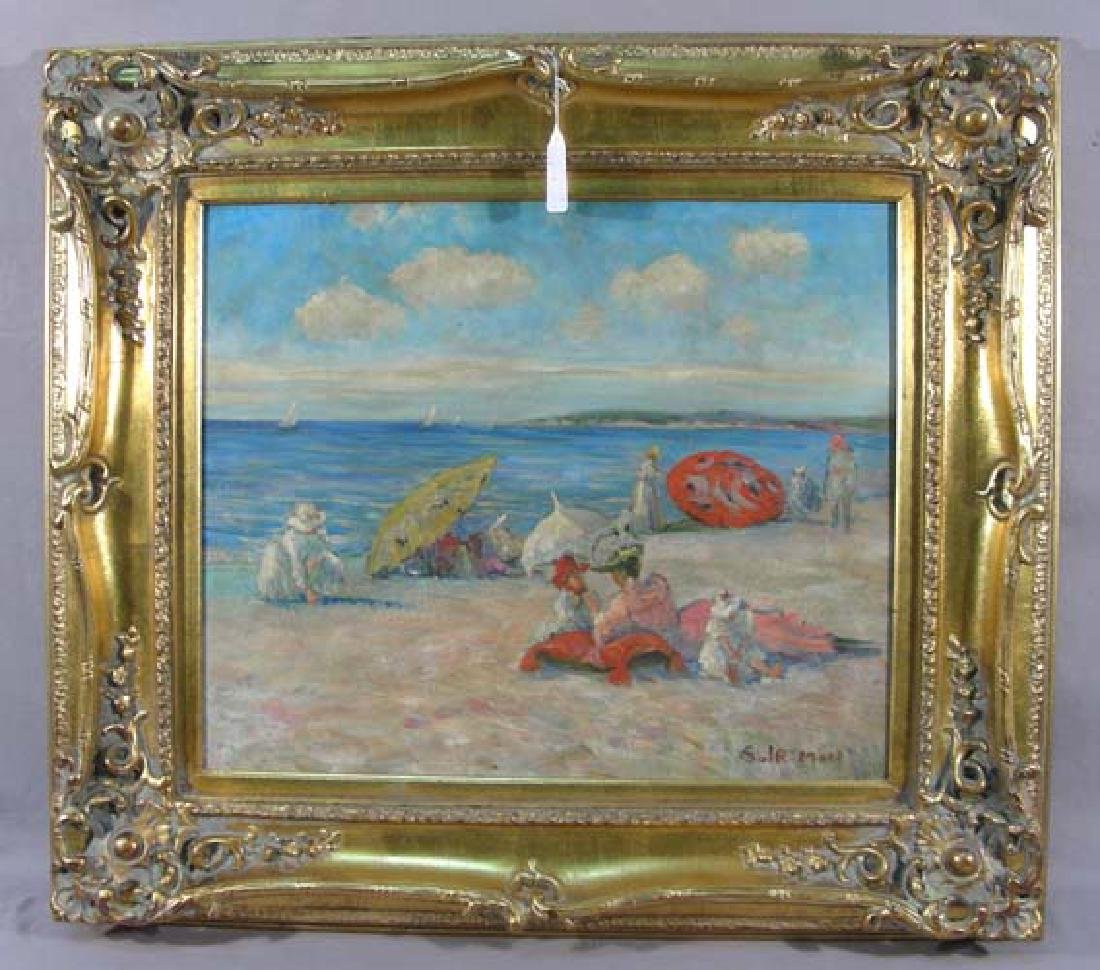 "ORIGINAL OIL ON CANVAS ""BEACH SCENE"""