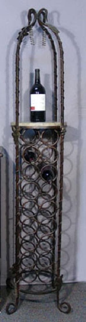 TALL WROUGHT IRON FLOOR WINE RACK WITH MARBLE SHELF