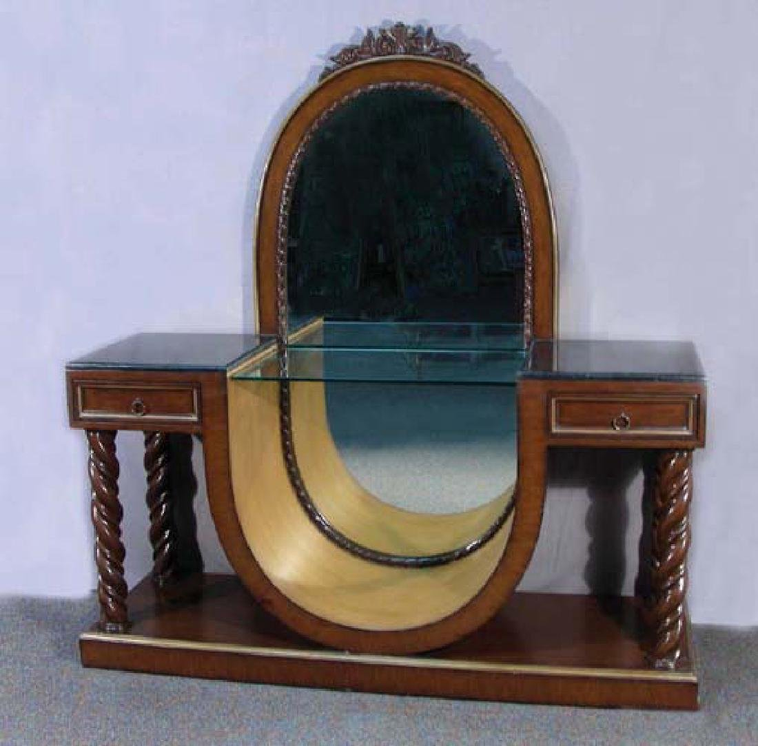 ART DECO STYLE VANITY WITH CENTER MIRROR AND GLASS TOP